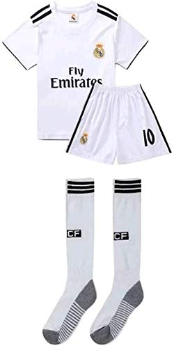 LLM Soccer Suit Real Madrid Luka Modric #10 Football Jersey Set for Children Kids Adolescent (Color : White, Size : 22)
