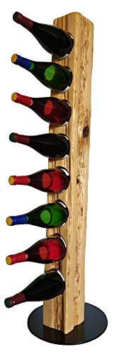 Wood & Wishes – Rustikaler Weinständer, Weinregal, Weinhalter aus Massivholz; gefertigt in Handarbeit für 8 Flaschen Wein; dekoratives Unikat; Höhe 113 cm Ø 30 cm; Treibholzoptik; Landhausstil