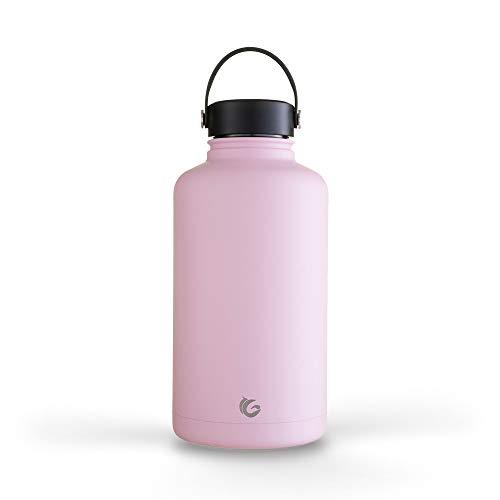 Una botella verde – Botella de acero inoxidable épica, botella a prueba de fugas con aislamiento al vacío de triple pared, criador de cerveza, barril de gimnasio, 64 onzas (2 L) (rosa
