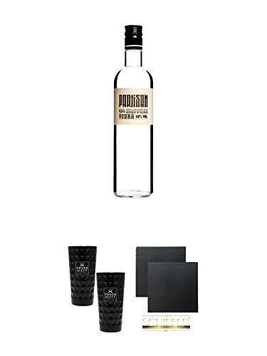 Partisan Vodka 50 Prozent 0,5 Liter + Three Sixty black Vodka Glas 2 Stück (black) + Schiefer Glasuntersetzer eckig ca. 9,5 cm Ø 2 Stück