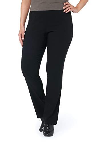 Ulla Popken Große Größen Damen Klassische Bengalin Hose K Schwarz (Schwarz 10), 58 (Herstellergröße: 29)