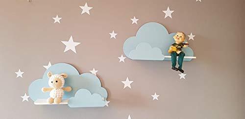 Juego de 2 estantes de pared Happy Woody Cloud para guardería/estante flotante de madera/decoración de habitación de bebé/habitación de cuarto de niños/decoración de pared/juego de regalo (azul)