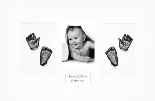 Anika-Baby Kit de moulage pour bébé Cadre 4 ouvertures Blanc Passe-partout blanc/fond blanc/peinture étain 36,8 x 21,6 cm