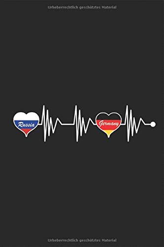 Russia Germany Heartbeat - Russland Deutschland Herzschlag: Land Fahne rot Weiss Blau Flagge Urlaub Reise Herz Notizbuch Planer Kalender Taschenbuch ... Geschenk DIN A 5 Taschenkalender 120 Seiten
