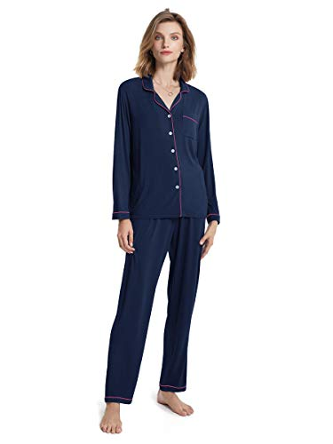 SIORO Pajamas for Women Soft Cotton 2 Piece Long Sleeve Button Up Pajama Set for Women Knit Loungewear with Pants, Navy with Fuchsia Piping, Small