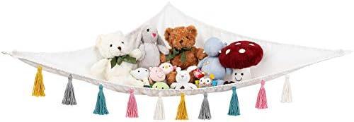 Mkono Stuffed Animal Toy Hammock Hanging Macrame Stuff Animals Organizer Storage with Colorful product image