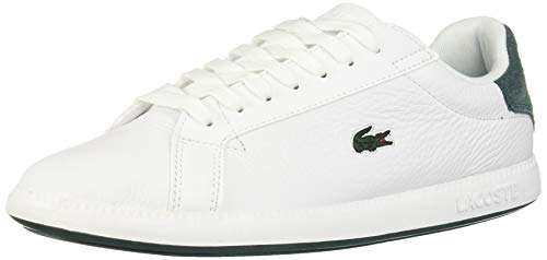 Lacoste Women's Graduate Sneaker, White/Dark Green Leather-Suede, 7.5 Medium US