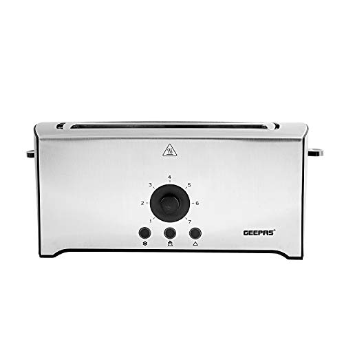 Geepas 4 Slice Toaster - 2 Extra Wide Long Slot Stainless Steel Toaster with 7 Variable Browning Settings & Reheat Defrost Mid-Cycle Cancel Options - Removable Crumb Tray - 1600W - 2 Years Warranty