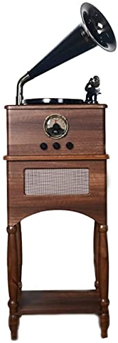 ZSMLB Altavoces Bluetooth Retro, bocina, Tocadiscos Madera Maciza, Reproductor Discos Vinilo, máquina música estéreo Cobre, fonógrafo Vintage