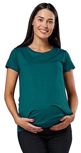 HAPPY MAMA. Mujer Top Diseño de Capa T-Shirt Premamá Lactancia Manga Corta. 436p