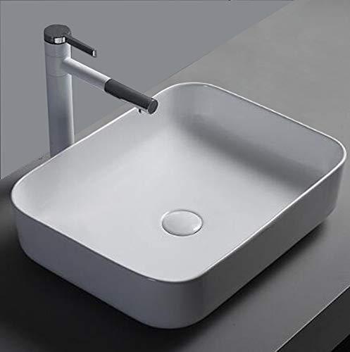1x Keramikwaschbecken eckig groß Aufsatz Waschbecken Handwaschbecken Keramik Bad 50x40cm
