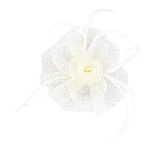 Fleur Net plumes Postiche Clip pour femmes Mariage courses goûters Église Chapeau beige