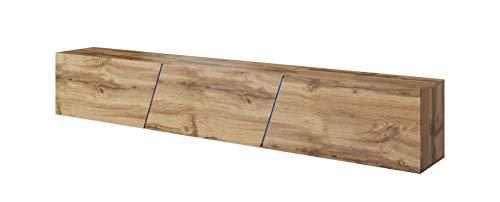 Vivaldi Slant 2 Mesa Flotante para TV Armario Colgante a la Pared | 40 x 240 x 34 cm | Hecho de Tablero de Virutas 16 mm | Iluminación RGB Comedor | Roble Wotan