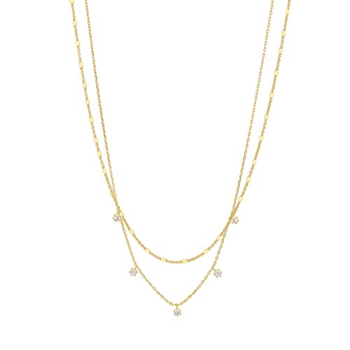 PAVOI 14K Gold Plated Chain Necklace for Women | 3.5x1.4x4.0mm AAA+ Cubic Zirconia | 925 Hypoallergenic Sterling Silver Necklace | Womens Jewelry | Yellow Gold