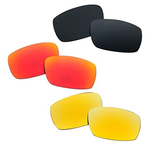 SOODASE Para Oakley Crankshaft Gafas de sol Rojo/Negro/Dorado Lentes de repuesto polarizadas