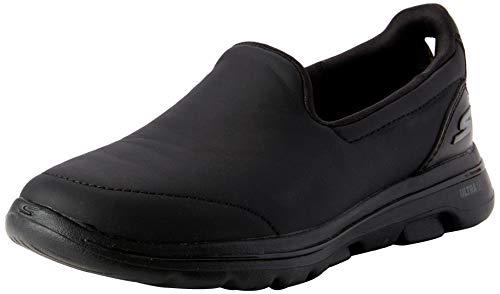 Skechers Performance Go Walk 5-Polished, Zapatillas Mujer, Negro (BBK Black Leather/Trim), 40 EU