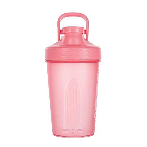 LSGMC Shaker Copa, Botellas De Plástico De Deportes Acuáticos, a Prueba De Fugas Portátil Multifuncional Blender Shake Copa, 500ml,Rosado