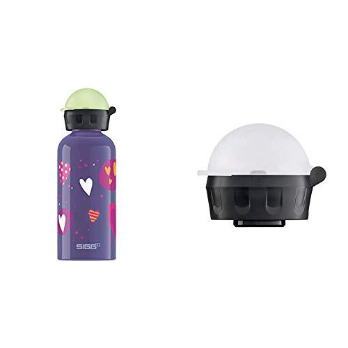 SIGG Kinder Trinkflasche Glow Heartballons, violett, 400 ml, 503979 & Kinder Trinkverschluss KBT Complete Carded Trinkflasche, Transparent, one Size