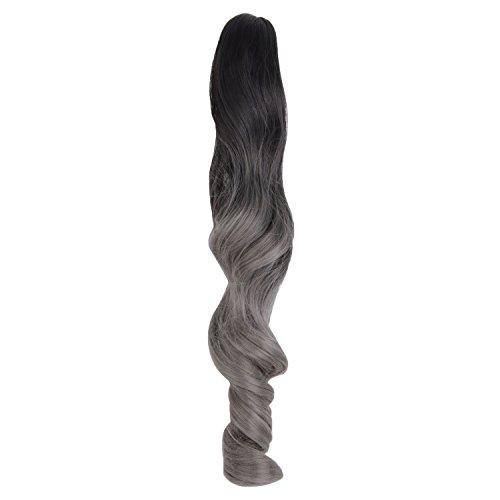 MapofBeauty 18 Pouce/45cm Longs Cheveux Bouclés Utilisent Une Queue De Cheval Par Jour (Profond Granny Gris+Noir)