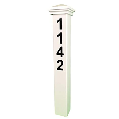 "ADDRESSES OF DISTINCTION White Address Post – 32"" Tall Address Marker - Customized Black House Numbers –All Hardware & Stake Included – Help Emergency Vehicles Find Your Home (Nantucket Cap)"