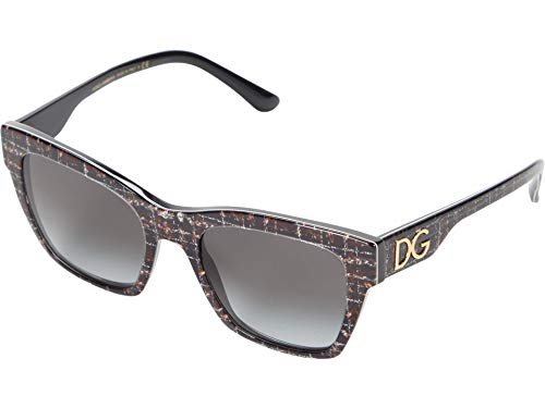 Dolce & Gabbana DG4384, (Marco de tweed negro/lente degradado gris), Talla única