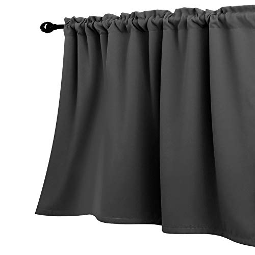 Grey Valances 18 Inch Length for Small Basement Window Curtains Valances Only Rod Pocket Charcoal Dark Gray Room Darkening Thick Short Blackout Solid Valences for Kitchen Bathroom