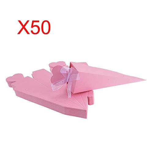 FLOWOW 50 Pz Rosa Forma di gelato cono Coni portariso scatola portaconfetti scatolina bomboniere segnaposto con Nastrino per matrimonio Nozze compleanno battesimo comunione nascita laurea Festa Natale