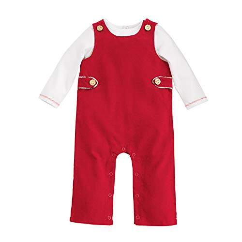 Mud Pie Boys Kids Baby Classic Christmas Red Overall Longall, Size 3-6 Months