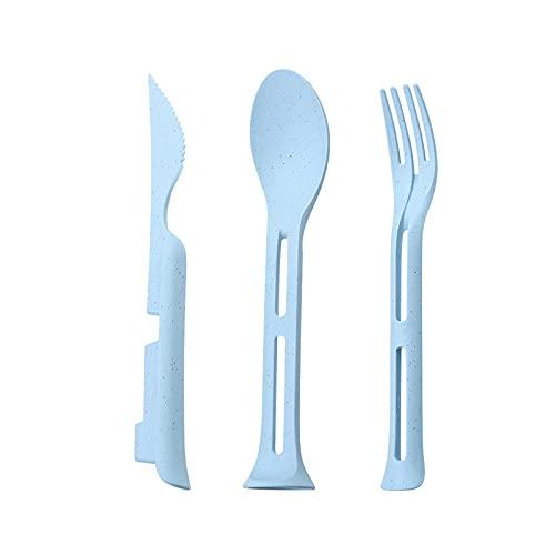 Durable Home Kitchen Comer Vajilla Set Cubertería Paja de Trigo Incluye Tenedores Cucharas Palillos 2 Juegos de 6 Azul