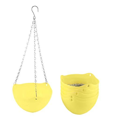 sourcing map Plastique 6pcs Pot fleurs suspendus usine Chaîne Semoir Panier Maison décor jardin jaune