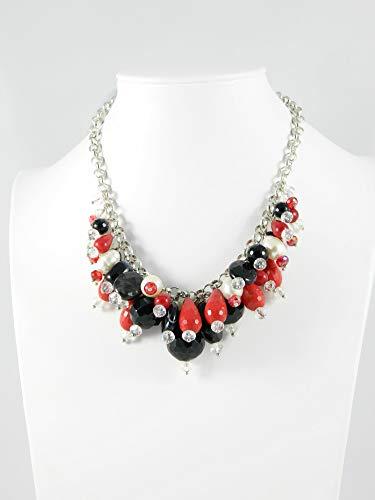 Collana girocollo con ciondoli di onice nero, pasta di corallo rosso, perle e cristalli Swarovski
