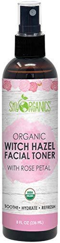 Organic Rosewater Witch Hazel Toner I 8 oz I Soothing Rose Toner, Witch Hazel Face Mist with Rosewater, For Dry and Sensitive Skin, Cruelty-Free and Vegan Facial Toner (Rosewater)