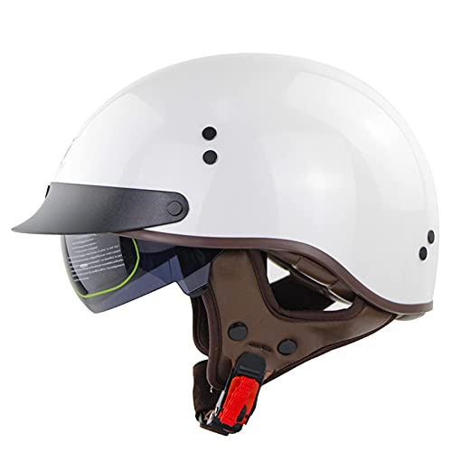 JFIOSD Casco de Moto Retro, Casco de Moto de Cara Abierta con Parasol para Hombres y Mujeres, Medio Casco de Moto para Biker Cruiser S Touring, Aprobado por ECE (Color: F, Talla: XL = (61-62cm))