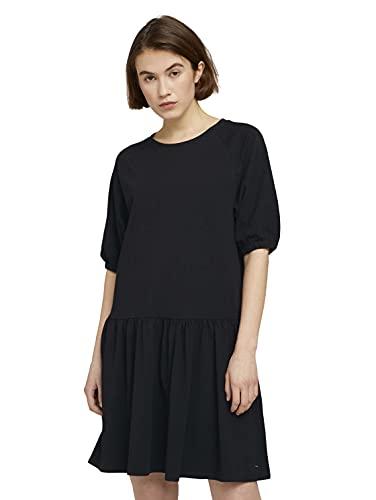 TOM TAILOR Denim Damen Jersey Balloon Kleid, 14482-Deep Black, XL