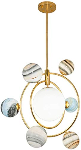 Nordic Round Glass Ball LED Chandelier Contemporary Creative Ring Globe Pendant Lamp Adjustable Ceiling Light 7 Planet Design 7 Lights G9 Warm White Straight Rod