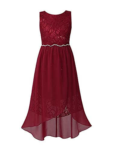 IEFIEL Vestido Largo de Fiesta para Niña Vestido Elegante de Dama de Honor Vestido Princesa Flores Un Hombro Descubierto Boda Ceremonia W Vino 12 años