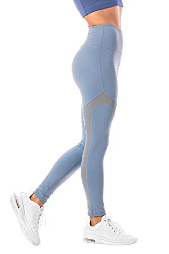 OUT & ABOUT Akari Yoga Pants for Women,High Waist, Tummy Control, Workout Pants, 4 Way Stretch Leggings (Blue, L)