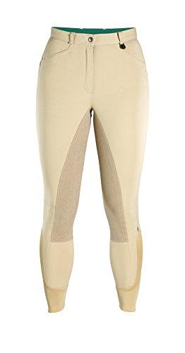 Caldene Competition, Pantaloni da Equitazione con Seduta Imbottita Donna, Vita Media Aintree, Beige (Beige), 34'