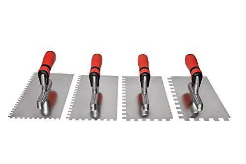 Maurerfreund, Fliesenlegerset 4-teilig, Glättekellen aus rostfreiem Edelstahl, Zahnung in 6x6 mm, 8x8 mm, 10x10 mm und 12x12 mm, Comfort Softgriff, Blattmaße 130x280x0,7mm, Made in Germany