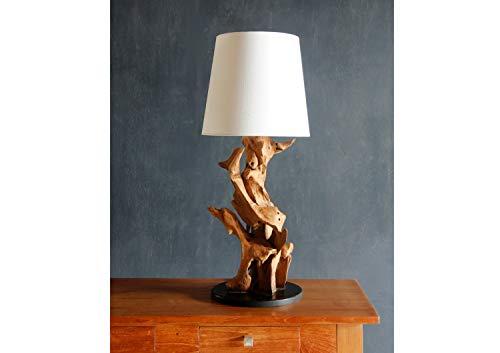 *Möbel Bressmer Teakholz Tischlampe Ikal 70 cm Handarbeit| Teak massiv Treibholz Tischleuchte Nature | Driftwood Treibholzlampe Schwemmholz Unikat |*