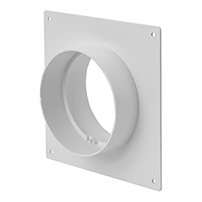 4'' / 100 mm Round Plastic Ducting and Fittings for Extractor Fan Ventilation - Wall Plate with Spigots