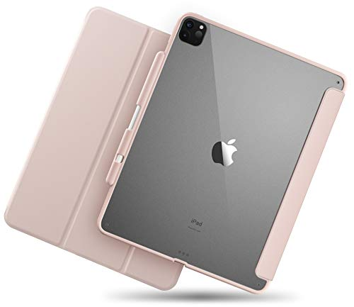 TineeOwl Mocha iPad Pro 12.9 case 2020 & 2018 (4th & 3rd Generation) Ultra-Slim Clear Case with Pencil Holder + Tri-fold Stand Cover, Absorbs Shock, Lightweight (Pink)