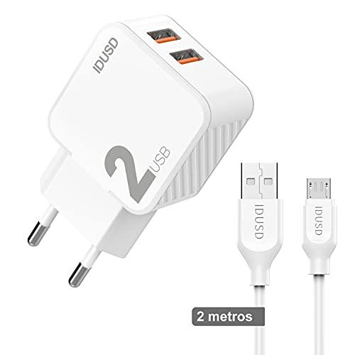 IDUSD Cargador de Enchufe Pared 2 Puertos USB 2.4 A con Cable...