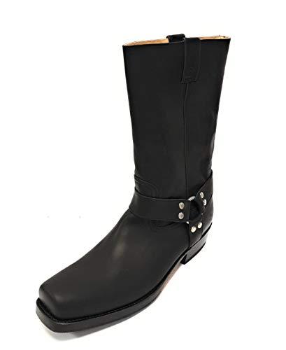 Sancho BW0541 Pull Gras Negro Boots Herren Cowboy Biker Western Stiefel