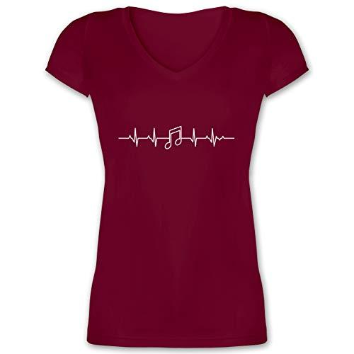 Symbole - Herzschlag Musik Note - L - Bordeauxrot - Musiker t-Shirt - XO1525 - Damen T-Shirt mit V-Ausschnitt