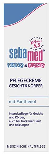 Sebamed Baby & Kind Pflegecreme Gesicht & Körper 75 ml, pflegt zarte Kinderhaut intensiv, auch bei trockener Haut und Reizungen