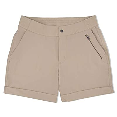 "Swiss Alps Womens UPF 30+ Sun Protection Multi Pocket Mid-Rise Shorts, 5"" Inseam, Khaki, M"