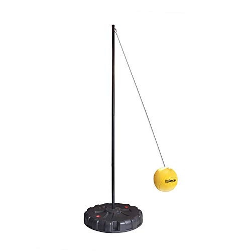 Hathaway Tetherball Set with Fillable Base & Durable Ball – Weather-Resistant Backyard Game for Kids & Adults – Black/Yellow
