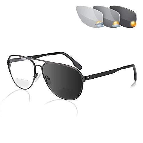 Fudeer Bifocales Fotocrómico Gafas Graduadas para Hombre Cerca Y De Lejos Lentes De Transición De Vista UV400 Gafas De Sol con Presbicia Dioptrías 1,00-3,00,Negro,+2.00