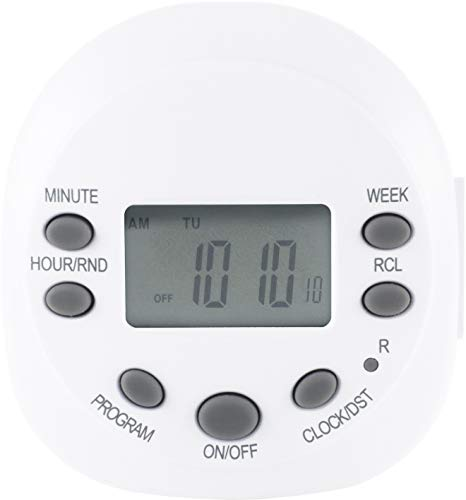 GE 7-Day Programmable Digital Timer, 1 Outlet Polarized, Plug-In Indoor, LED, CFL, Incandescent, Ideal for Lamps, Portable Fans, Seasonal Lighting, Small Appliances, 15154